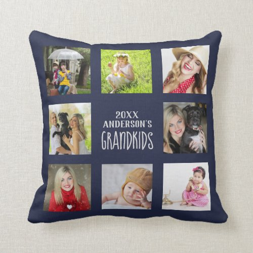 GRANDPARENTS Photo Collage Grandkids QUOTE Navy Throw Pillow