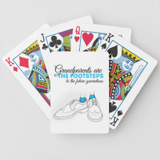 Grandparents plows the footsteps to the future to  bicycle playing cards