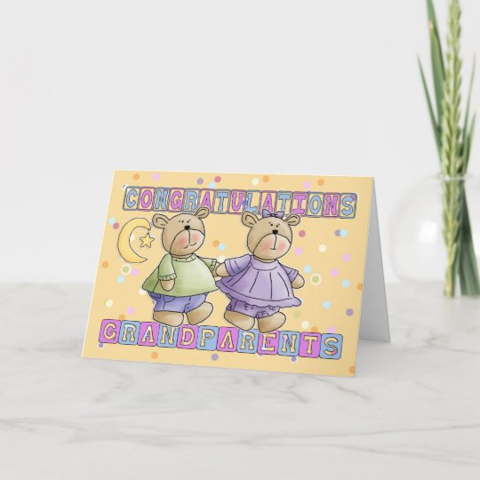 Grandparents to new baby twins congratulations card zazzle grandparents to new baby twins congratulations card m4hsunfo