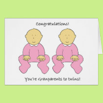 Grandparents to twin girls, congratulations. card