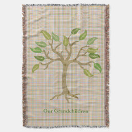 Grandparent's Tree Plaid Throw Blanket