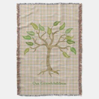 Grandparent's Tree Plaid Throw Blanket