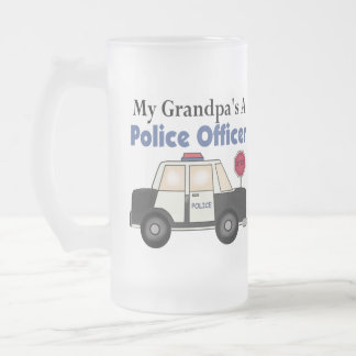 Grandpa's A Police Officer Frosted Glass Beer Mug