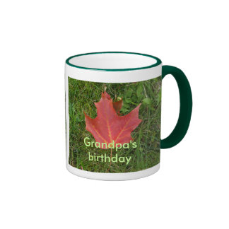 Grandpa's Birthday-red maple leaf Ringer Coffee Mug