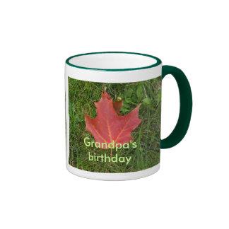 Grandpa's Birthday-red maple leaf Ringer Mug