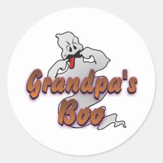 Grandpa's Boo Halloween Ghost Classic Round Sticker