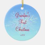 Grandpa's First  Christmas Snowflake Ornament