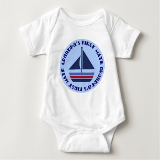 Grandpa's First Mate Sailing Sailboat Gift Baby Bodysuit