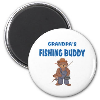 Grandpa's Fishing Buddy Bears 2 Inch Round Magnet