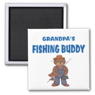 Grandpa's Fishing Buddy Bears 2 Inch Square Magnet