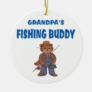 Grandpa's Fishing Buddy Bears Ceramic Ornament