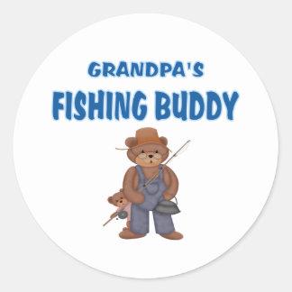 Grandpa's Fishing Buddy Bears Classic Round Sticker