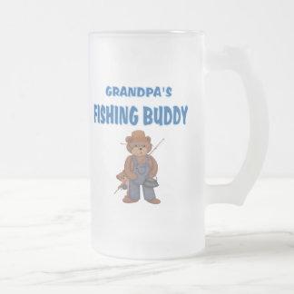 Grandpa's Fishing Buddy Bears Frosted Glass Beer Mug