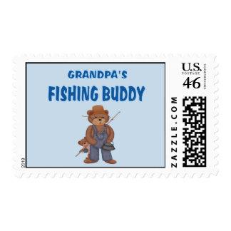 Grandpa's Fishing Buddy Bears Postage Stamps