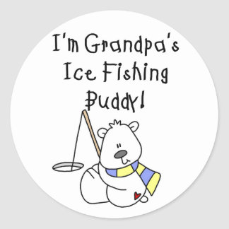 Grandpa's Ice Fishing Buddy Tshirts and Gifts Classic Round Sticker
