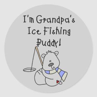 Grandpa's Ice Fishing Buddy Tshirts and Gifts Classic Round Sticker