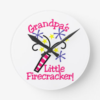 Grandpas Little Firecracker Round Clock