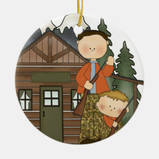 Grandpas Little Hunter Rustic Log Cabin Ceramic Ornament