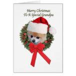 Grandpa's Pomeranian Dog Christmas Card