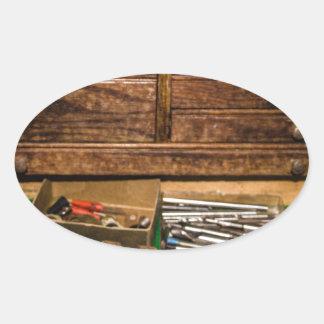 Grandpa's Toolbox Oval Sticker