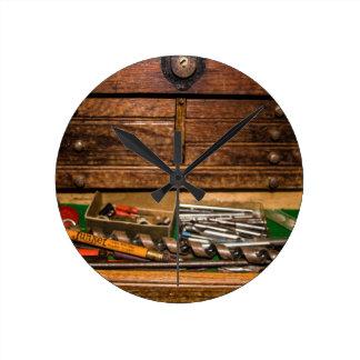 Grandpa's Toolbox Round Clock