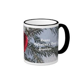 Grandpa's Valentine-Red Heart on Pine Branch Coffee Mugs