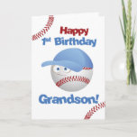 "Grandson 1st Birthday, Baseball Theme Card<br><div class=""desc"">This cute baseball is wearing a blue cap and has big eyes. Perfect card to wish your grandson a Happy 1st Birthday with a baseball theme for the little boy who loves balls and baseball.</div>"