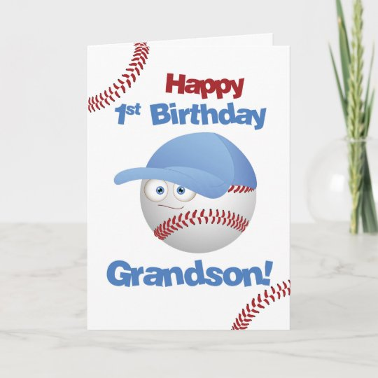 Grandson 1st Birthday Baseball Theme Card Zazzle