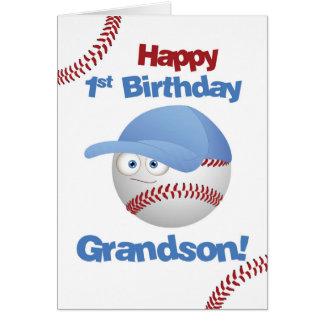 Grandson 1st Birthday, Baseball Theme Card