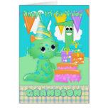 Grandson 1st Birthday Cute Little Monster Greeting Card