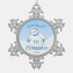 Grandson 1st Christmas Snowman Snowflake Pewter Christmas Ornament at Zazzle
