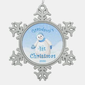 Grandson 1st Christmas Snowman Snowflake Pewter Christmas Ornament