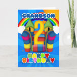 "Grandson 2nd Birthday Card With Bouncy Castle<br><div class=""desc"">A sunny happy 2nd birthday card with bouncy castle</div>"