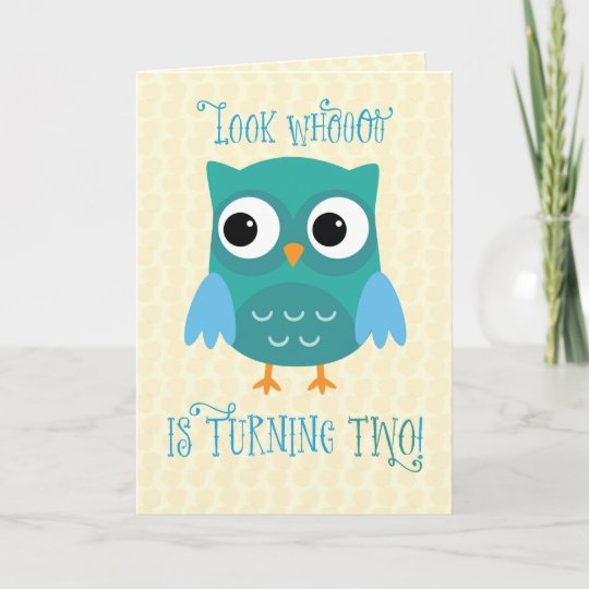 Grandson 2nd Birthday Owl Blue Green Card