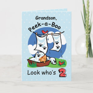 Grandson 2nd Birthday Peek A Boo Kitten Card