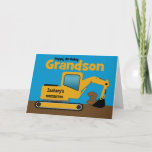 "Grandson 3rd Birthday Yellow Excavator Add Name Card<br><div class=""desc"">A fun third birthday card for a grandson who loves construction equipment and earth movers. It has a yellow digger on the front with an area on the cab where you can change the name of the construction company to your grandson's name. The number 3 is being scooped up in...</div>"