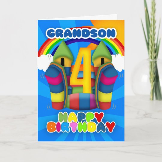 Grandson 4th Birthday Card With Bouncy Castle And Zazzle