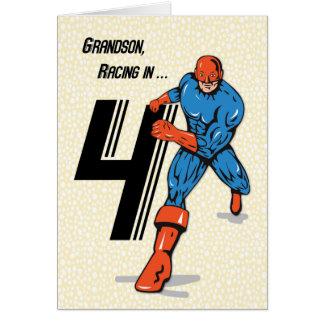 Grandson 4th Birthday Superhero Card