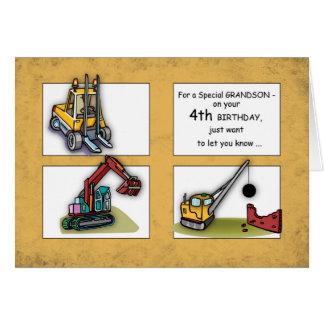 Grandson 4th Birthday, Trucks Card