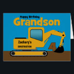 """Grandson 4th Birthday Yellow Excavator Add Name<br><div class=""""desc"""">A fun fourth birthday card for a grandson who loves construction equipment and earth movers. It has a yellow digger on the front with an area on the cab where you can change the name of the construction company to your grandson&#39;s name. The number 4 is being scooped up in...</div>"""