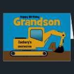 "Grandson 4th Birthday Yellow Excavator Add Name<br><div class=""desc"">A fun fourth birthday card for a grandson who loves construction equipment and earth movers. It has a yellow digger on the front with an area on the cab where you can change the name of the construction company to your grandson's name. The number 4 is being scooped up in...</div>"
