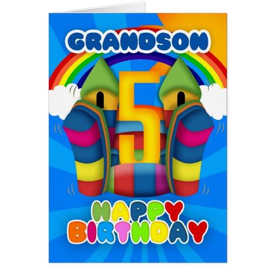 Grandson 5th Birthday Card With Bouncy Castle – Birthday Card Grandson