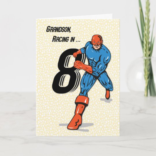 Grandson 8th Birthday Superhero Card