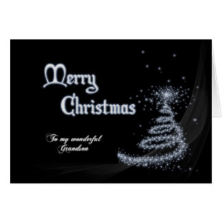 Grandson, a Black and white Christmas card