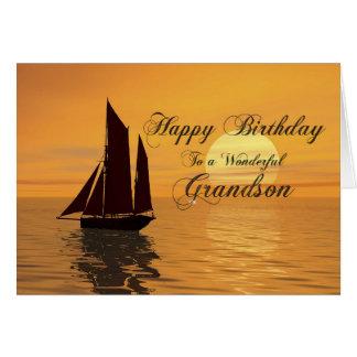 Grandson, a sunset yacht birthday card
