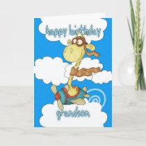 Grandson Aeroplane / Airplane Giraffe Birthday Car Card