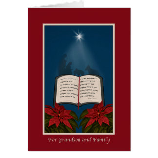Grandson and Family, Open Bible Christmas Message Greeting Card