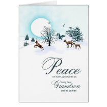 Grandson and partner, Christmas with reindeer Card
