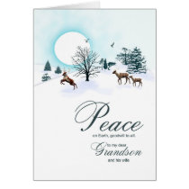 Grandson and wife, Christmas with reindeer Card