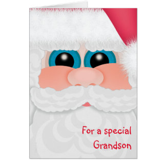 Grandson at Christmas Cute Santa Face Card